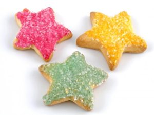 Sugar-Cookie-Day-Church Star-shaped sugar cookies with pink, green and yellow frosting. ©bigstockphoto.com/Hank Shiffman